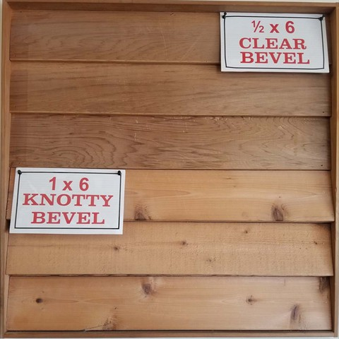 1/2 X 6 Clear Bevel  1 X 6 Knotty Bevel